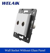 WELAIK EU Standard 2 TV  Socket DIY Parts  White Wall  TV  Socket parts Without Glass Panel A82TV