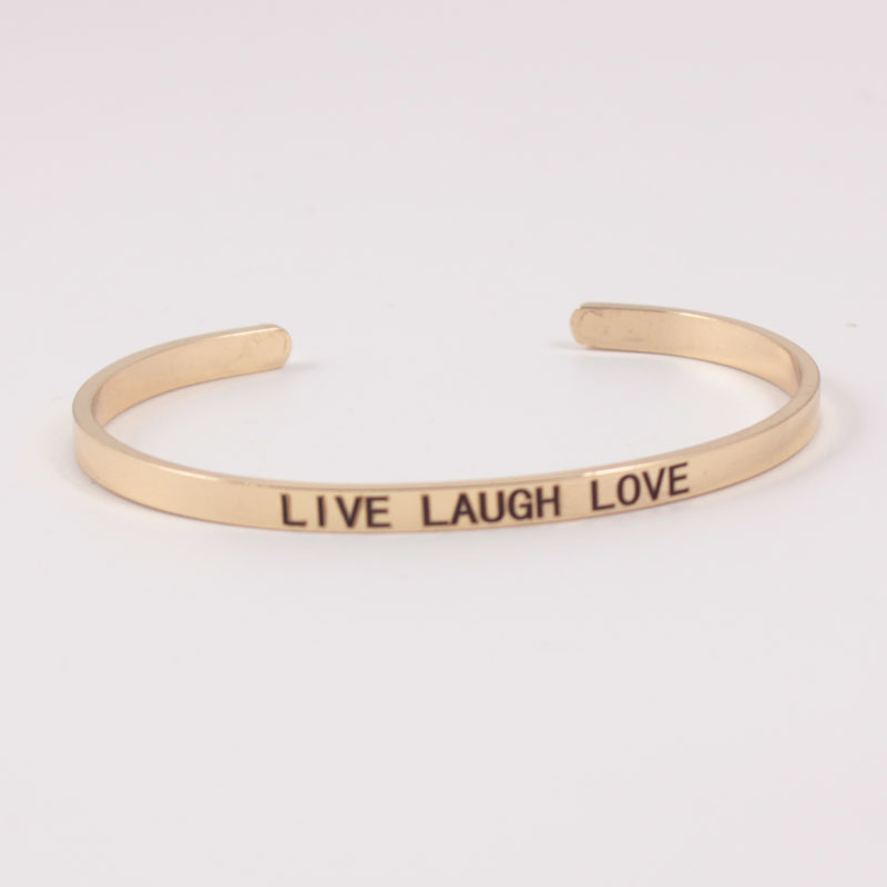 4MM LIVE LAUGH LOVE Stainless Steel Engraved Positive Inspirational Quote Cuff Mantra Bracelet Initial Bangle