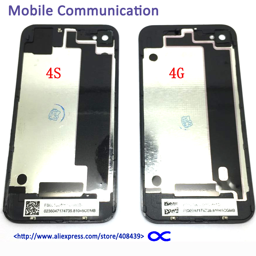 10pcs 4S 4G Battery Back Cover For iPhone 4 4G 4S Battery Door Rear Glass Housing Replacement With Logo Black White