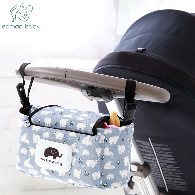 Baby Stroller Organizer Bag Mummy Diaper Bag Hook Baby Carriage Hanging Storage Bag Cartoon Folding Elephant Travel Nappy Bag