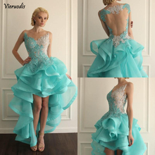 Jewel Sheer Neckline High Low Short Homecoming Dresses Turquoise Prom Gowns With Lace Applique Backless Ruffles exquisite jewel sheath lace sleeveless short homecoming dress