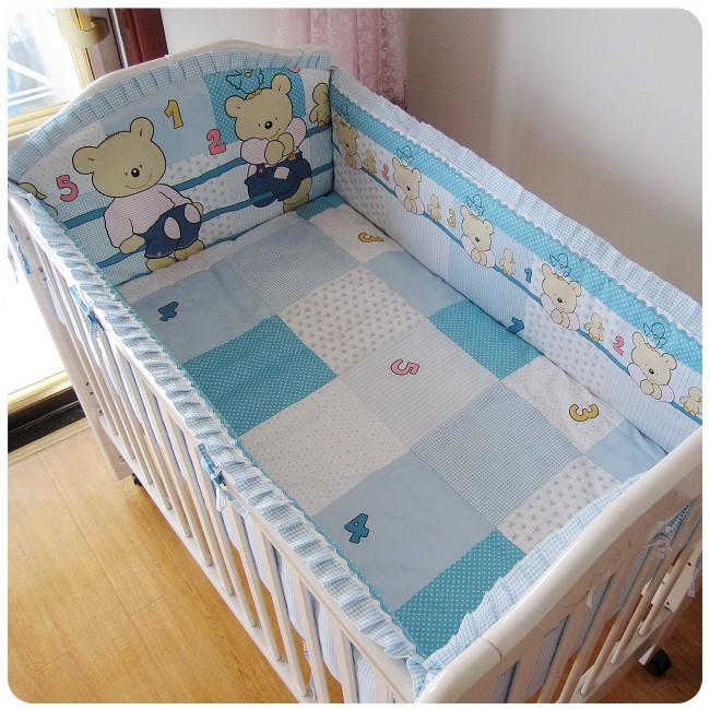 Promotion! 6PCS Blue Bear High Quality Cotton Baby Bedding Sets,Crib Set,Cute Baby Sheet (bumper+sheet+pillow cover)