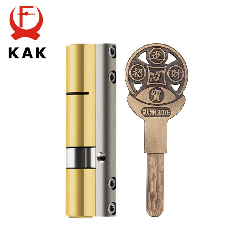KAK Brass Cylinder C Grade Copper Door Lock Core With 8 Keys High Security Lock Core Double Open Anti-Snap Anti-Drill Hardware