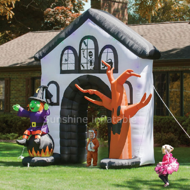 Yard Decoration Haunted House Witch Dead Tree Halloween Inflatable