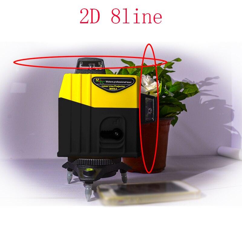 2D8Linhas line infrared laser level meter wall 360 degree automatic spirit level slash strong light 4h4v feixe de laser vermelho все цены
