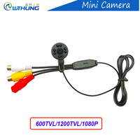 New Super Small Color Video Camera 1080P 600 800TVL 3 7mm Lens With Audio Line IR