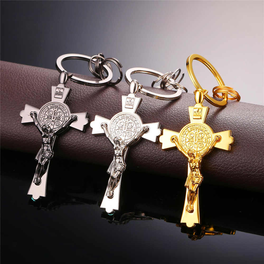 U7 quente novo clássico cruz saint benedict medalha chaveiros por atacado cor de ouro masculino chaveiro titular com caixa k007