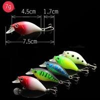 0.79$/pcs 7G 7.5CM Artificial Baits 3D Eyes Crankbait Jia Head Double Hook Baits Jig Fishing Tools Kit Fishing Lures 5Pcs/lot