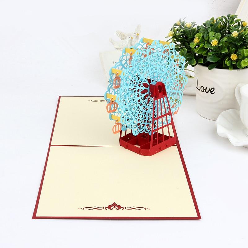DoreenBeads Creative 3D Ferris Wheel Birthday Card Paper Cutting ...