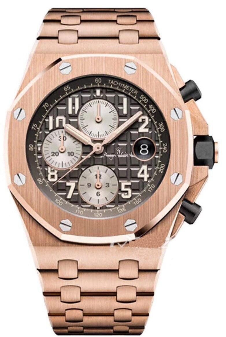 Marque de luxe nouveaux hommes montre chronographe saphir en acier inoxydable Rose or argent noir bleu lumineux saphir montres Limited