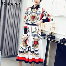 Delocah Autumn Women Set Runway Fashion Designer Vintage Palace Shirt+Slim Pleated Skirt Two Pieces Lady New Suits