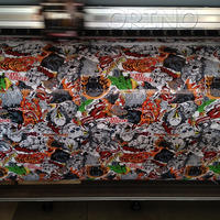 Animal Skull JDM Graffiti StickerBomb Vinyl Wrap With Air Bubble Free For Car Wrapping Decals Sticker Bomb Film Sheet