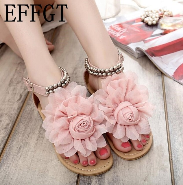 9dac4a2fadd0 EFFGT Plus Size 35-43 2018 new Women fashion Sandals Summer Gladiator  Sandals flats Beautiful summer ladies flowers sandals H262