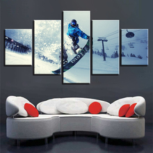 Canvas Painting Wall Art HD Printed Framework 5 Pieces Winter Sports Skiing Pictures Modular Extreme Poster Home Decor