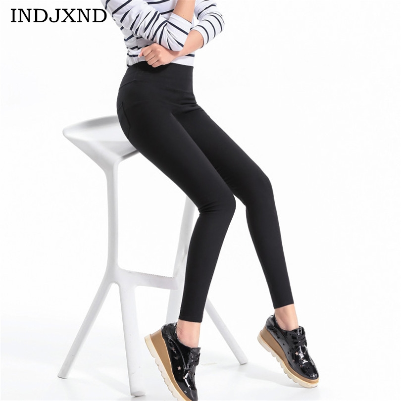 INDJXND Women Summer Pencil Leggings High Waist Female Black Legging Thin Ladies Elastic Leggins White Pantalones Plus Size K132