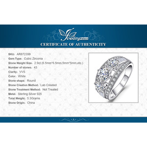 Image 5 - JewelryPalace 3 Stones CZ Engagement Ring 925 Sterling Silver Rings for Women Anniversary Ring Wedding Rings Silver 925 Jewelry