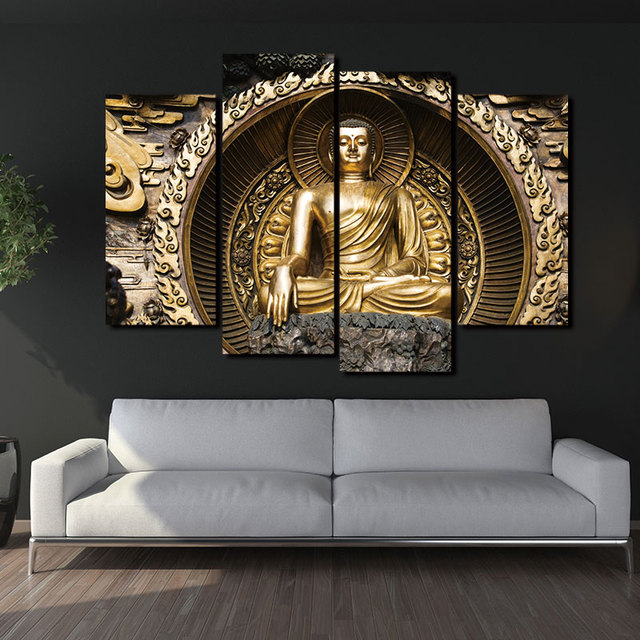 paintings picture canvas 4 panel modern printed buddha zen painting cuadros decoracion buda wall art modular - Decoracion Budista