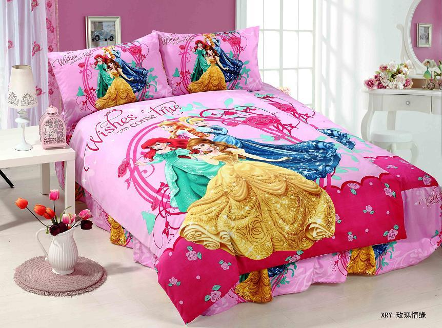 deep pink princess printed bedding sets single twin size bedclothes