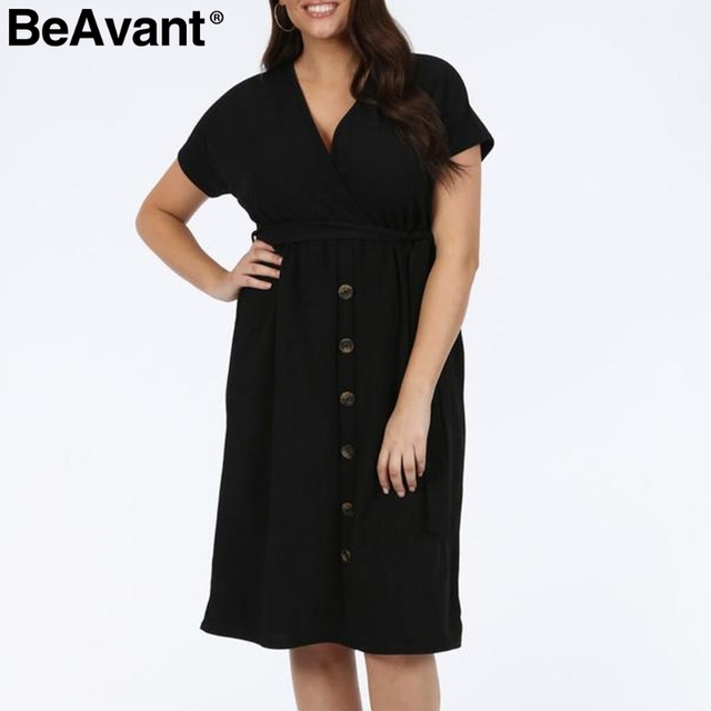 BeAvant Casual women plus size dress summer 2019 V neck short sleeve high waist dress female Buttons loose midi dress vestidos 1