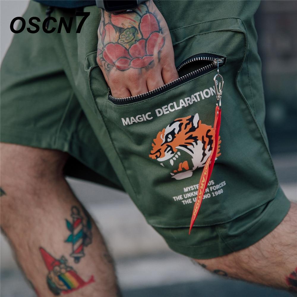 OSCN7 2 Colour Streetwear Military Cargo Pocket Design Plain   Shorts   Men 2019 Fashion Bermuda Graphics Print   Short   Pants Men 903