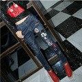 2016 Nuevos pantalones vaqueros de Las Mujeres Mediados de cintura de color Azul oscuro Bolsillo Mickey vaqueros Lápiz Pantalones Colapso Pantalones Bordados