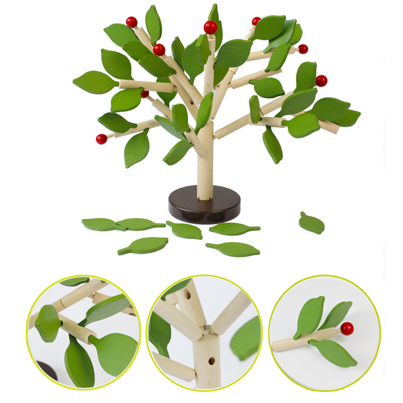 Learning Education Toy Creative DIY Puzzle Game Building Trees Quality Wood 3D Puzzle Toy Kids Play with Friends Birthday Gift