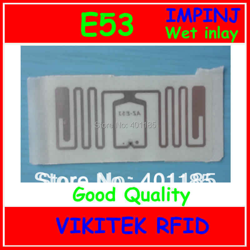 Impinj E53 sticker UHF RFID wet inlay with glue 860-960MHZ Monza4 915M EPC C1G2 ISO18000-6C can be used to RFID tag and label uhf rfid passive tags alien 9629 dry inlay 860 960mhz higgs3 epc c1g2 iso18000 6c can be used to rfid tag label 100pcs per roll