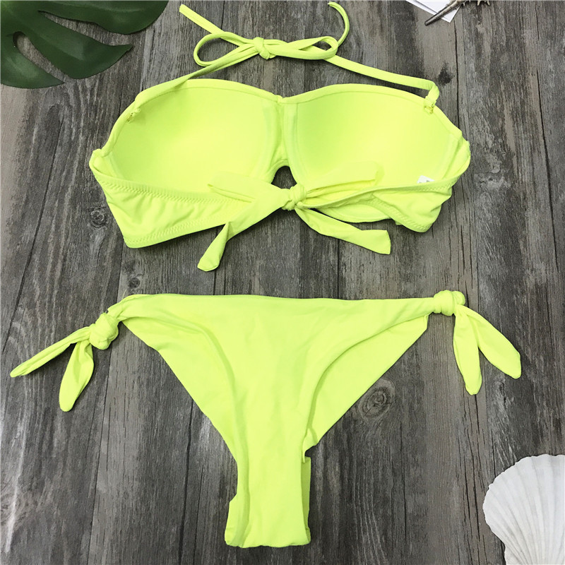 2018 Sexy Bikini Suit Swimwear Solid Fluorescent Swim Suite Trendy Maillot De Bain Feme Branzillian High Cut Push Up Bikini
