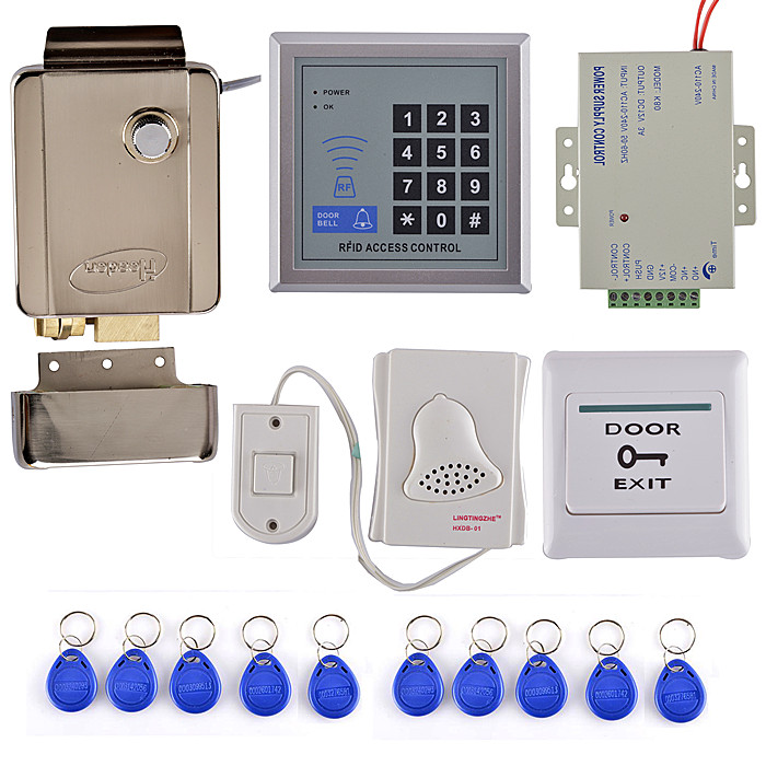 125KHz RFID Keypad Access Control System Security Kit + Electric Door Lock +Door Bell diysecur magnetic lock door lock 125khz rfid password keypad access control system security kit for home office