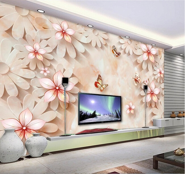 Пользовательские 3d обои, камень тиснением цветочный фрески для гостиной,  спальни ТВ фоне стены винил Papel де Parede b84a333f77b