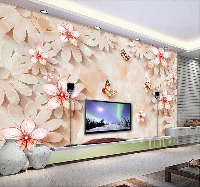 Fond D écran 3d Personnalisée Pierre En Relief Floral