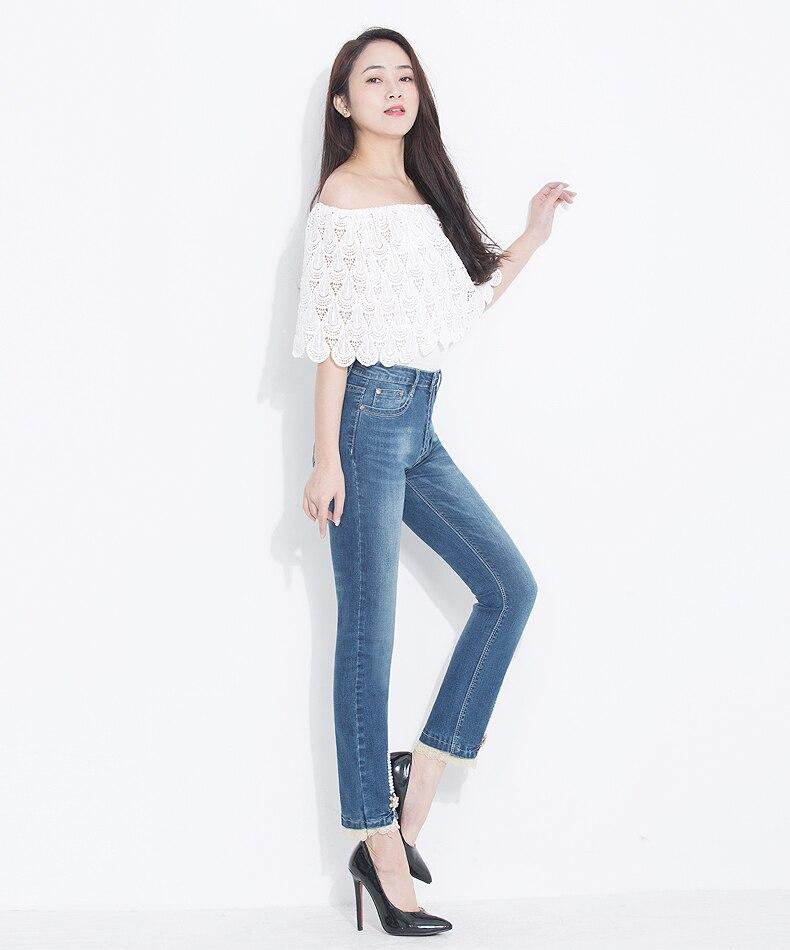 KSTUN FERZIGE Women's Jeans 2020 High Waist Straight Slim Fit Stretch Lace Designer Hand Beads Sexy Ladies Trousers Denim Pants Femme 13