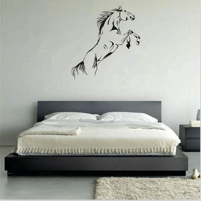 . PVC Black Running Horse Wall Sticker Removable Vinyl Art Mural Home Decor  Jump Horse Wallpaper
