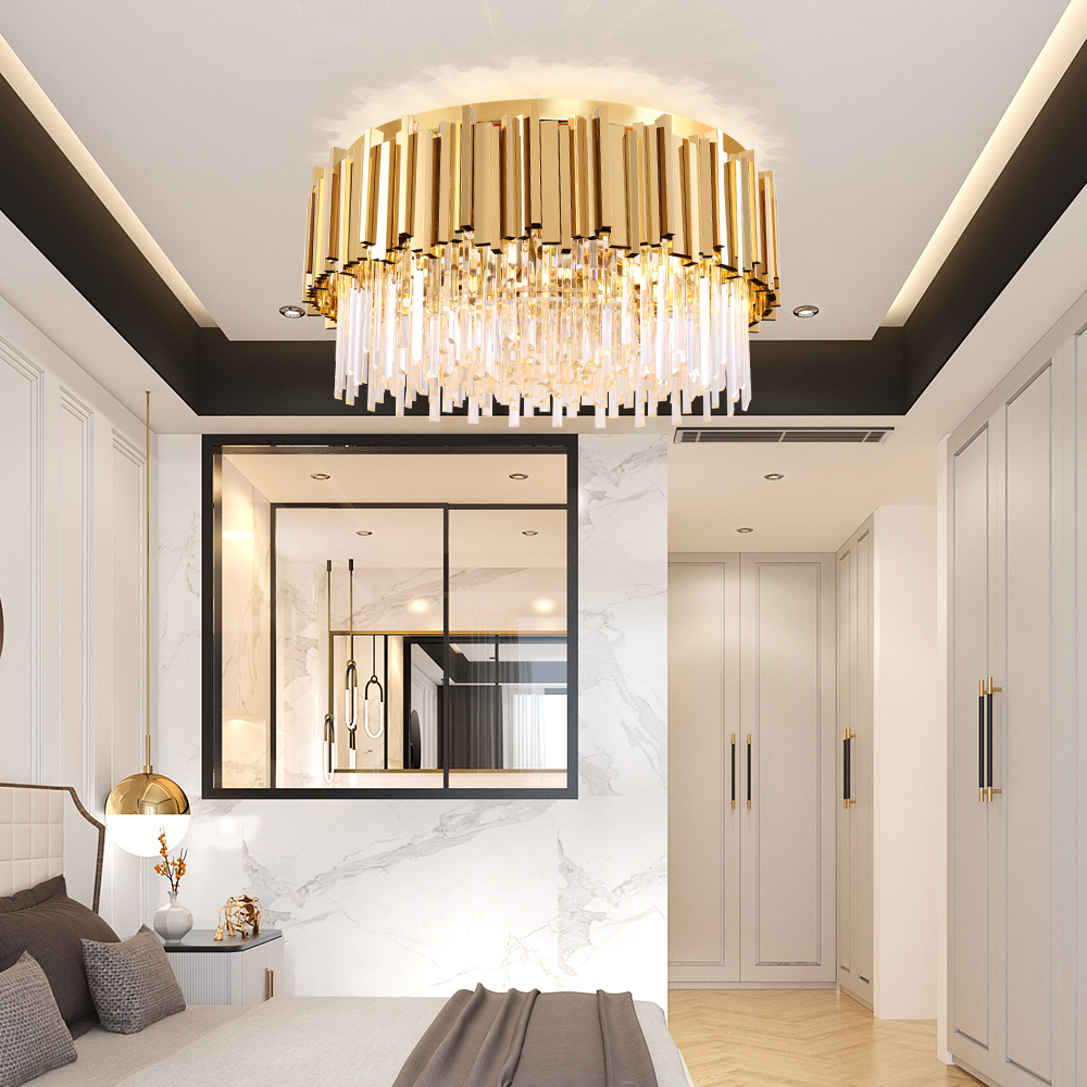 Round Gold Crystal Chandelier For Ceiling Luxury Modern Bedroom LED Lustres De Cristal  3