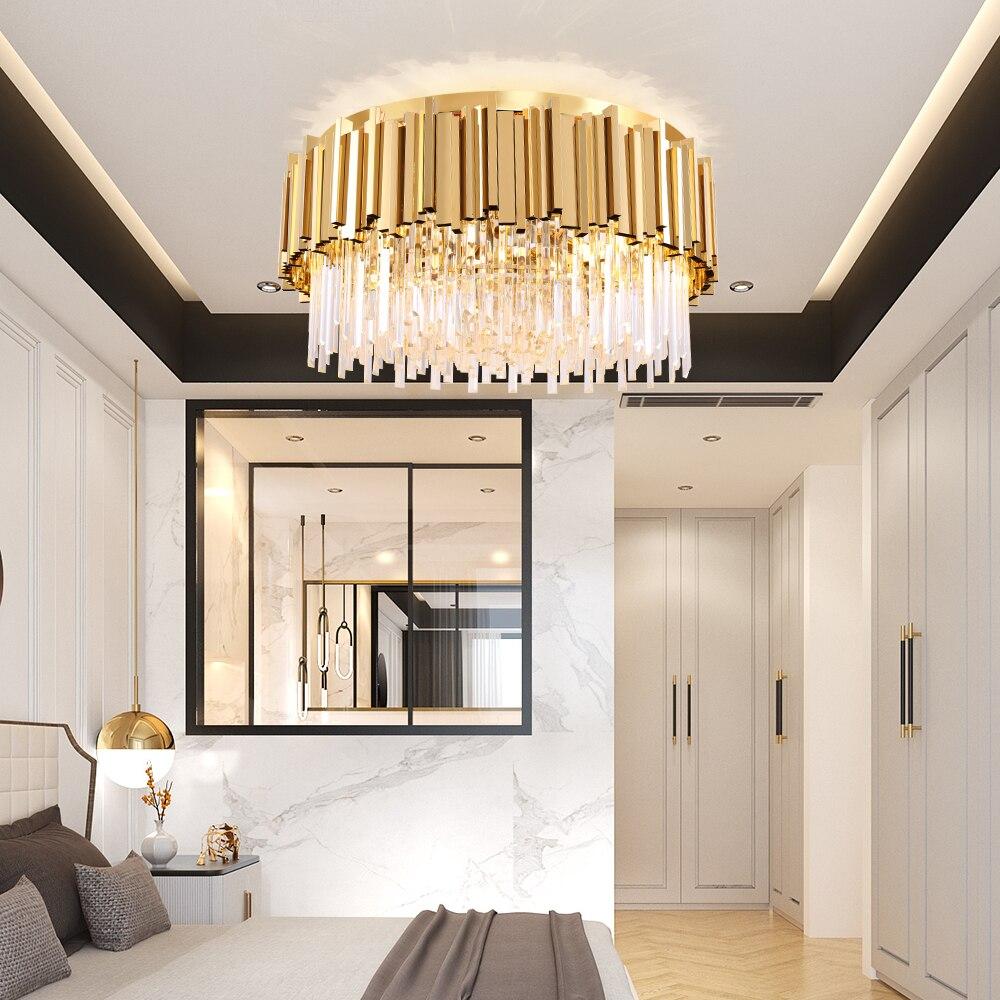 Image 4 - Youlaike Round Gold Crystal Chandelier For Ceiling Luxury Modern Bedroom LED Lustres De Cristal Home Indoor Lighting Fixtures-in Chandeliers from Lights & Lighting