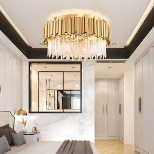 Image 3 - Youlaike Round Gold Crystal Chandelier For Ceiling Luxury Modern Bedroom LED Lustres De Cristal Home Indoor Lighting Fixtures