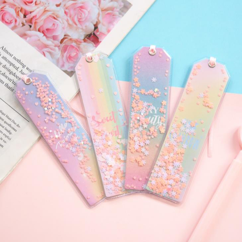 4 Pcs/set Cute Laser Shimmering Star Rainbow Color Transparent Bookmarks For Book Paper Files Page Holders Organizer Stationery