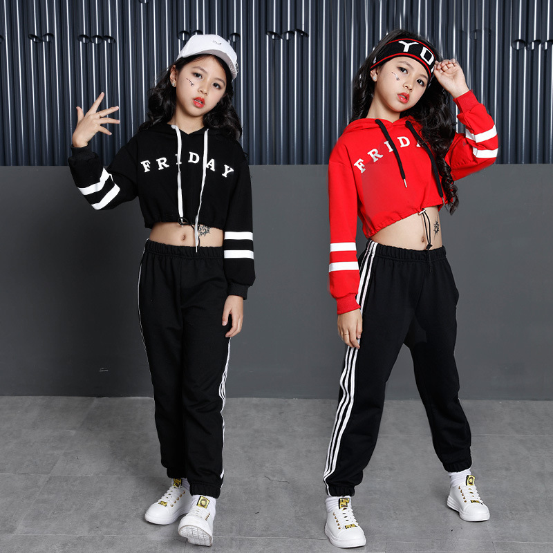 Girls Street Dance Clothing Kids Black Red Letter Crop Hoodie Top With Long Sleeves Pant 2pcs Teenage Clothes Set For Girls