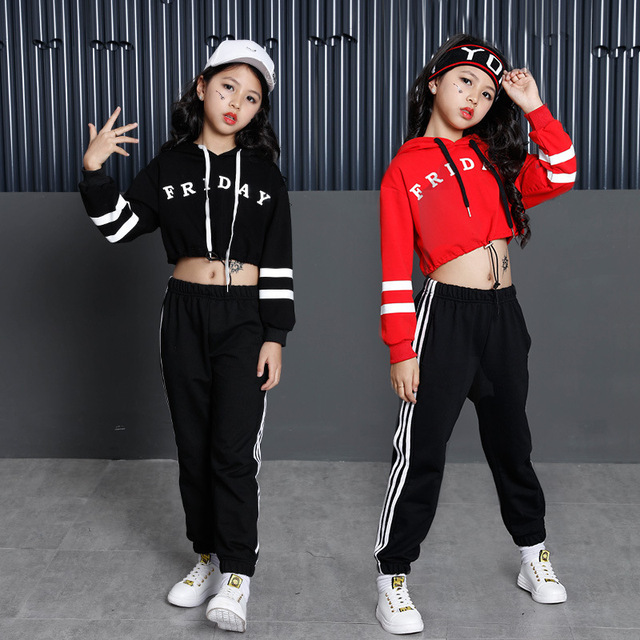8213d14d96523 Girls Street Dance Clothing Kids Black Red Letter Crop Hoodie Top With Long  Sleeves Pant 2pcs Teenage Clothes Set For Girls