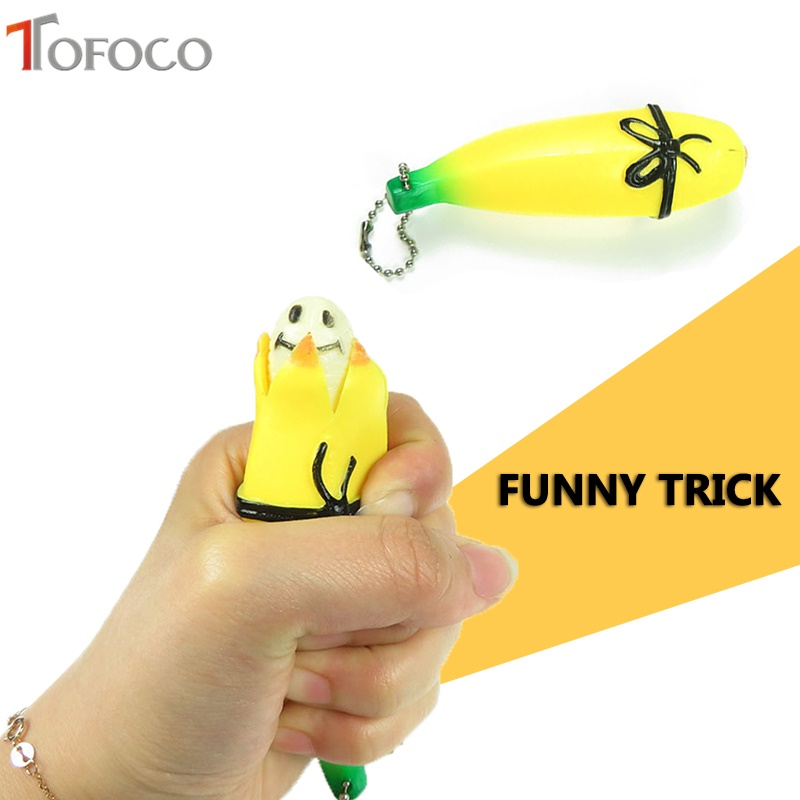 TOFOCO Cute Funny Banana Squishy Jumbo Trick Simulation Fruit Phone Straps Soft Cream Scented Slow Rising Kid Prank Toy Gift