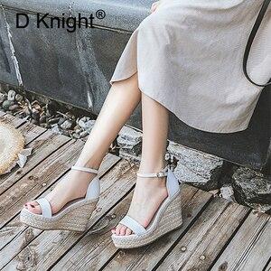 Image 2 - Size 32 44 Wedges Women Sandals Open Toe White Pu Leather High Heel Pumps Hot Black Flock Ankle Strap Wedges Lady Platform Shoes