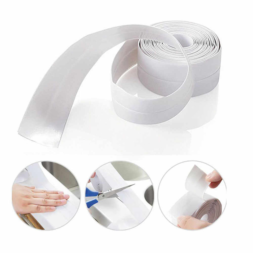 Waterproof Mold Proof Adhesive Tape Durable Use 1 PVC Material Kitchen Bathroom Wall Sealing Tape Gadgets Tape Kitchen#w