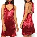 Женщины Сексуальная Глубокий V Мини-Платье Новая Мода Женщин Сексуальный Backless Спагетти Ремень Скольжения Платье Онлайн Сверкающих Club Платья