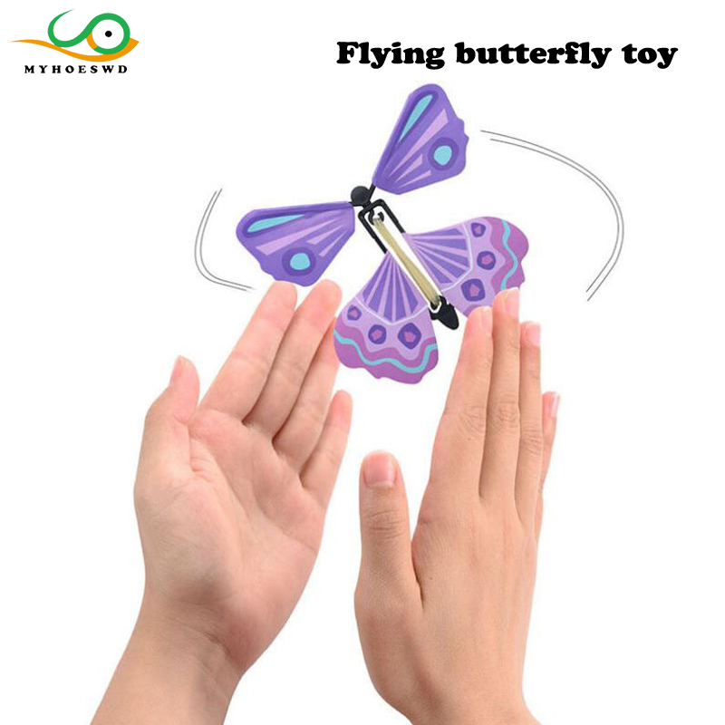 MYHOESWD 10 pieces/lot Novelty Gag Toys Butterfly Wind Up Toys Beach For Children Party Toy for Kids Adult Butterfly Magic Props