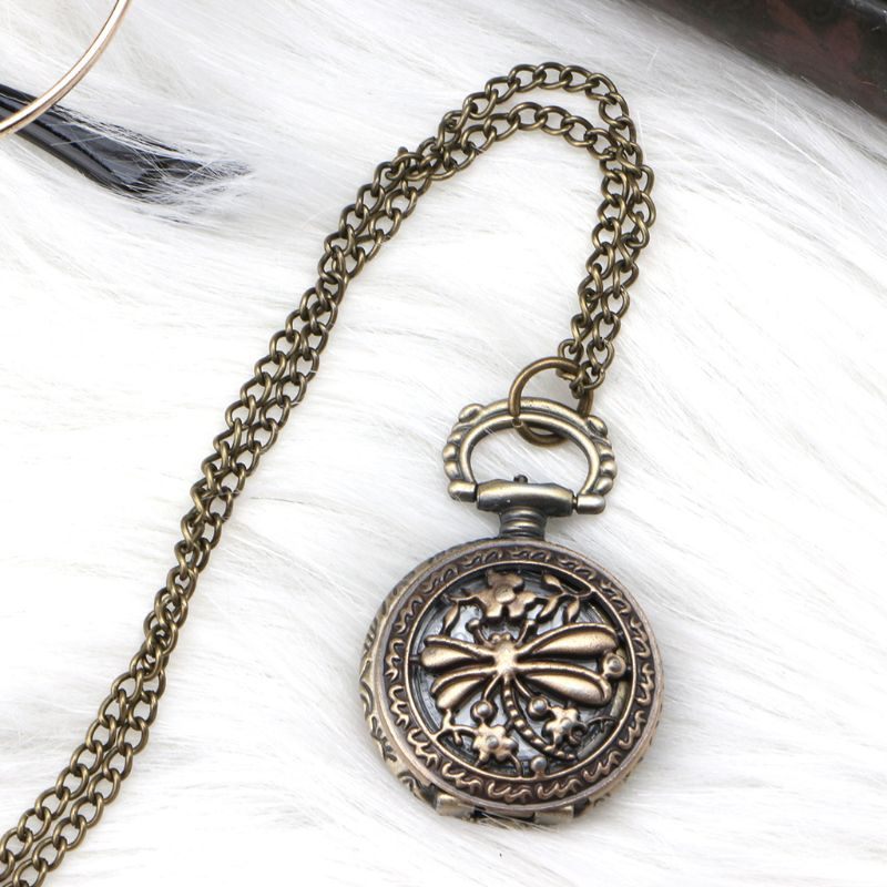 Pocket Watch Quartz Dragonfly Carved Hollow Vintage Bronze Cover Pendant Chain Charm Necklace Unisex Floral Exquisite Creative