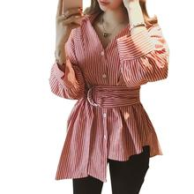 2019 New Yfashion Women Casual All-match Stripe Pattern Irregular Hem Lapel Long Sleeve Shirt white stripe shirt with irregular hem