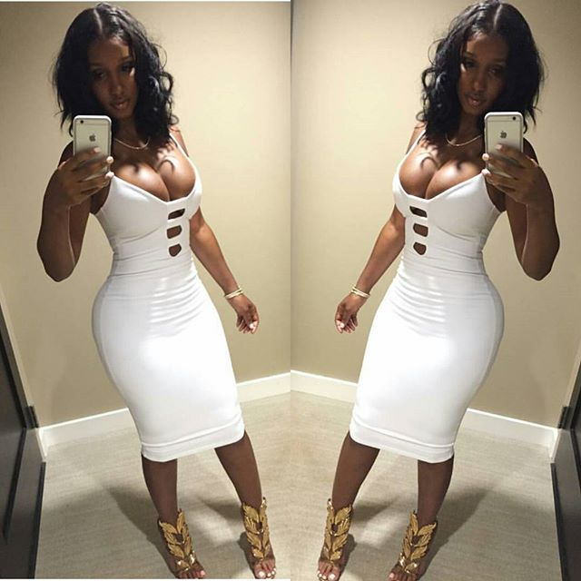 82203539d071 Sexy club dress 2016 new women spring white bandage dress Celebrity  sleeveless deep V neck slim hollow out party dresses-in Dresses from Women's  Clothing on ...