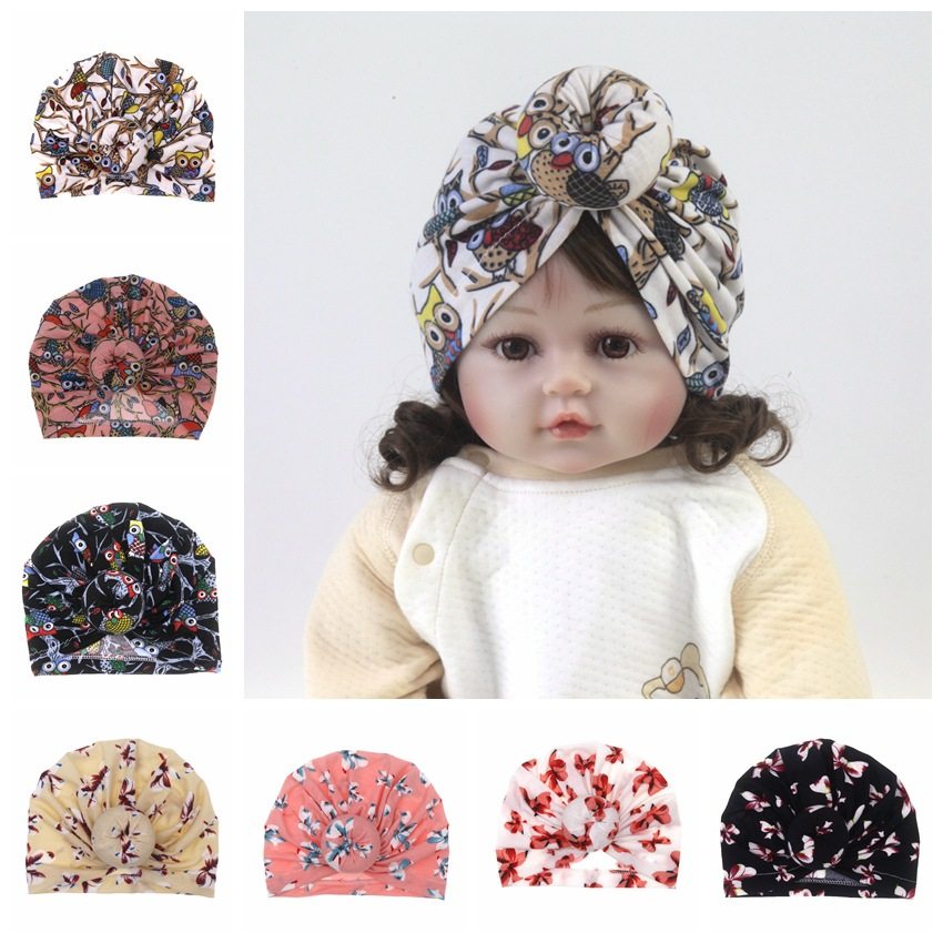 2019 Fashion Newborn baby printing popular hats Boy Girls Turban Cotton Beanie Hat cute Flower Donut Soft Caps 8 colors(China)