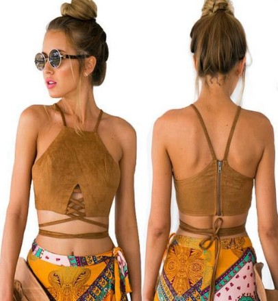 NEW women cropped Vintage faux leather crop top tank top Sexy Retro summer womens short t-shirts tops Slim cami cropped