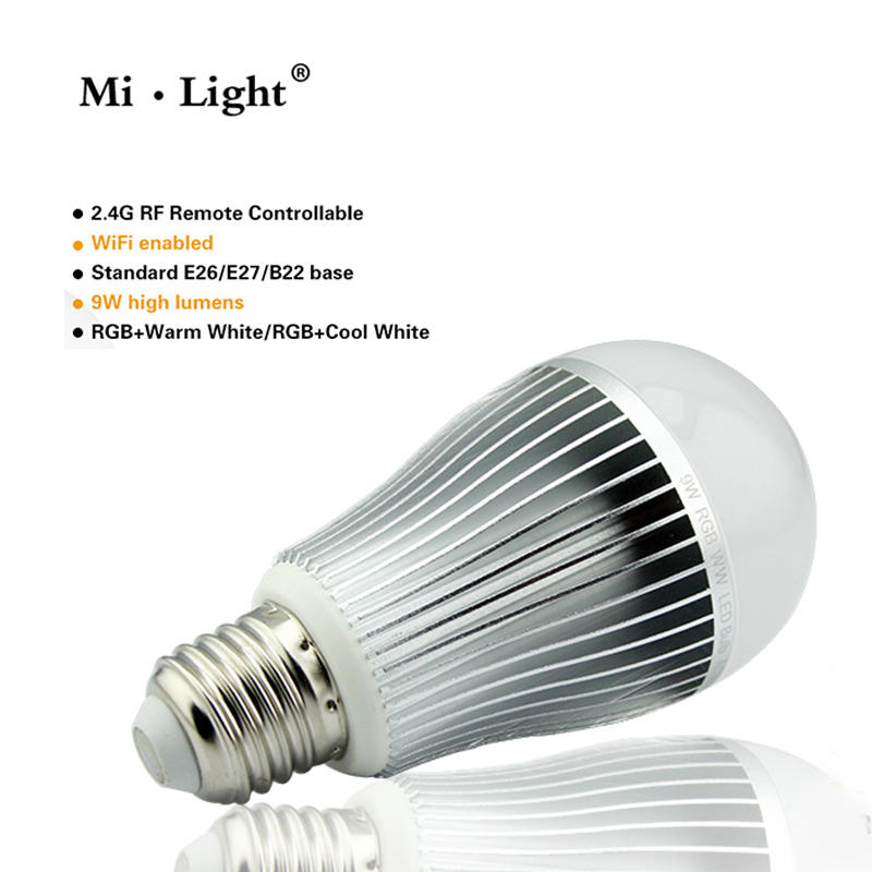 Mi.light Led Bubble Bulb Lamps light  dimable 9W E27 base RGBW / RGBWW color super brightness adjustable in stock led backlight lamps update kit adjustable led light for 15 24 inch lcd monitor universal highlight dimable